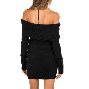 73e76607809 Dresses | Mira Black Off The Shoulder Sweater Dress | Poshmark