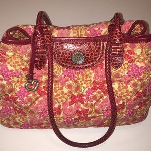 🌺Brighton floral heart quilted satchel w/leather