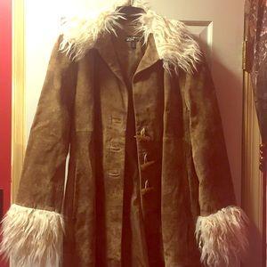 Black Rivet brown leather long coat