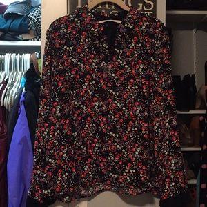 Floral bow blouse