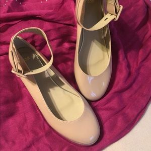 ASOS Nude Patent Mary Jane Ankle Strap Shoes Sz 5