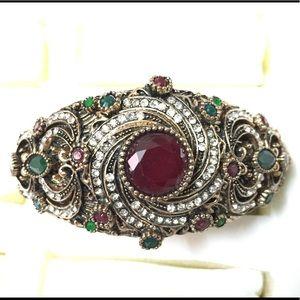 Antique Gold Designer Firework Rhinestone Bracelet