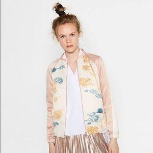 NWT Zara satin bomber jacket
