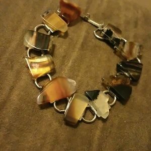 Agate and silver color bracelet