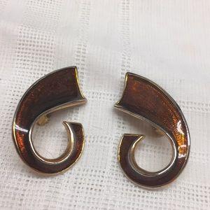 Brown Enamel Clip Earrings