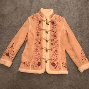 Genuine suede coat with embroidery