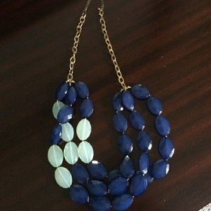 Navy and mint bead necklace