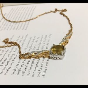 14k Gold Electroplated Citrine Stone necklace