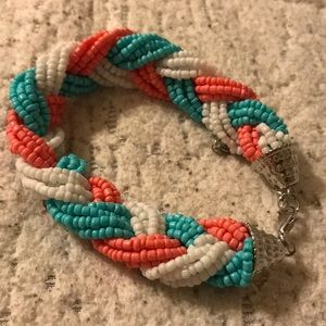 Beaded bracelet white coral turquoise
