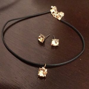 CHOKER W/ FAUX BROWN DIAMOND W/ MATCHING EARRINGS