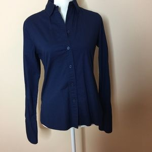 Navy Blue Button Down Long Sleeve Top