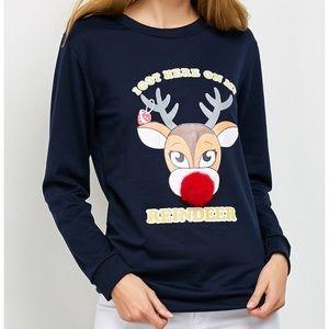 New Reindeer Pom Ball Sweatshirt