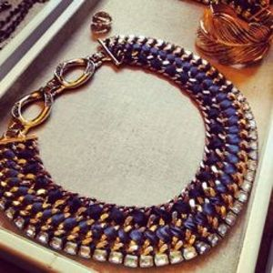 Stella and Dot gold and blue collar
