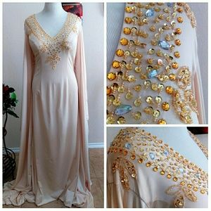 Sexy Champagne Kaftan Arab Style Gown