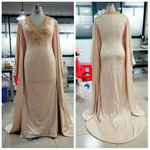 Dresses - Sexy Champagne Kaftan Arab Style Gown