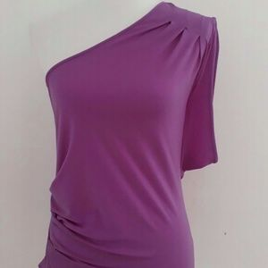 New Express One shoulder purple Top