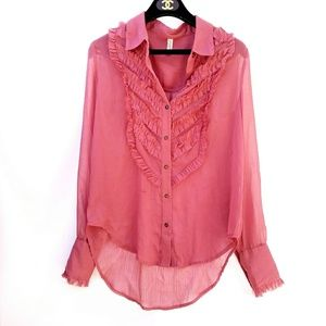 Free People Pink Button Up High Low Ruffle Top