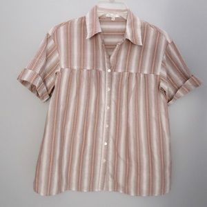 Vince Short Sleeved Striped Button Up XS