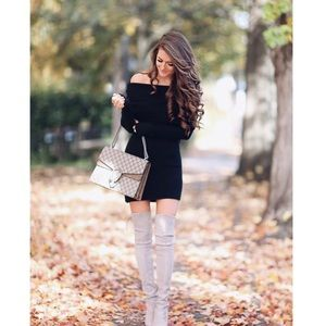 'Mira' Black Off The Shoulder Sweater Dress