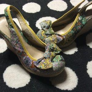 Floral Retro Style Espadrille Bow Platform Heels