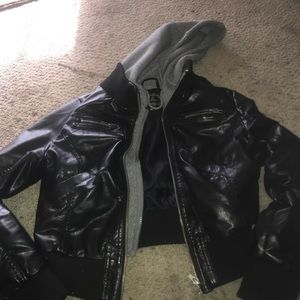 Leather jacket with gray hood