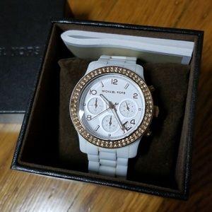 Michael Kors White Ceramic Watch w/ Rose Gold