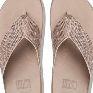 NWT! Fit Flops Crystal Toe Thongs Rose Gold