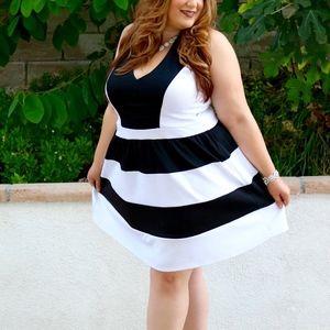 Black & White Charlotte Russe Skater Dress