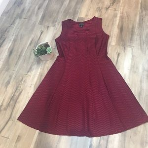 Maroon Fit and Flare Dress Stretch size 10
