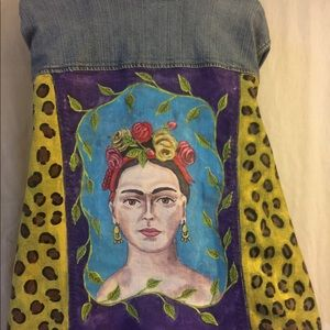 Plus size painted denim jacket Frida inspired