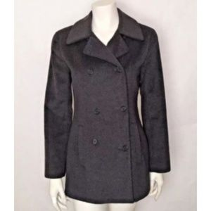 J Crew Charcoal Gray Peacoat Sz 6 Double Breasted