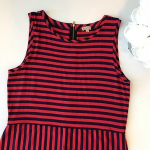 Cremieux Blue And Red Striped Sleeveless Dress