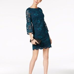 Jessica Howard Bell Sleeve Lace Sheath Dress Teal