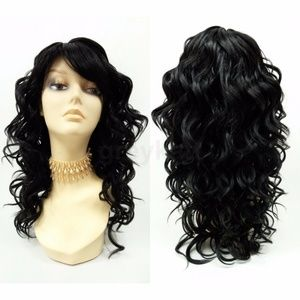 """Off Black Curly Heat Resistant Wig with Bangs 18"""""""