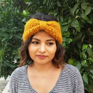 Chunky Knit Mustard Turban Headband