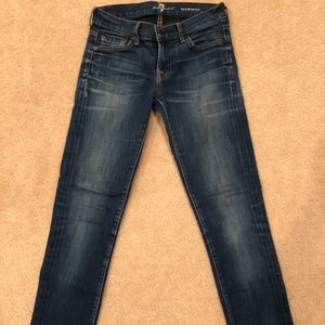 7 for all mankind mid-blue skinny jeans, size 25