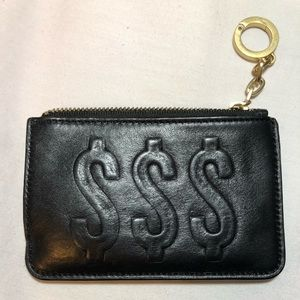 Kate Spade black leather coin-holder card case