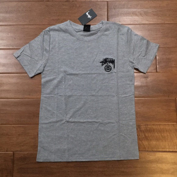 19a8fbbde29 Stussy Grey Embroidered Tee