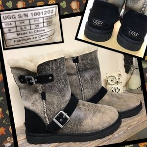 Ugg Australia Dylyn Black Brown Leather Boots 8