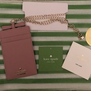 NWT kate spade new york Lanyard Leather ID case