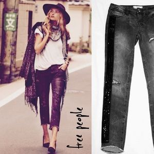FREE PEOPLE Solstice Sequin distressed jeans