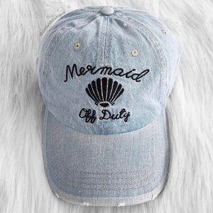 Mermaid off duty light blue denim baseball hat