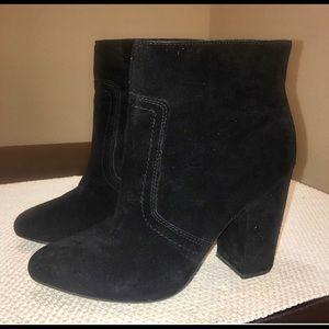 Designer Suede Black Ankle Boots Size 8