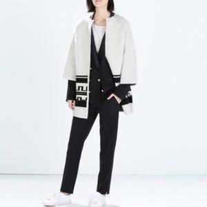 Zara Wool Knit Aztec Coat