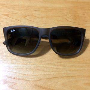 authentic Ray-Ban matte brown wayfarer sunglasses