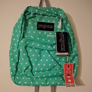 NWT Jansport Backpack - Teal and White Polka Dot