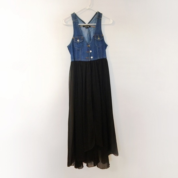 6552c3c4fac Forever 21 Dresses   Skirts - Forever21 Denim Sheer Black Maxi Dress