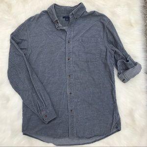 Men's Lands End Gray Corduroy Buttondown Shirt