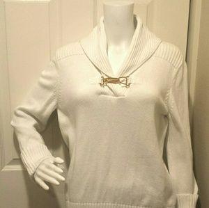 Chaps Ralph Lauren White Horsebit Sweater L XL. A