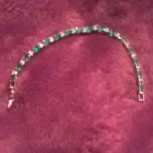 Faux emerald & cz tennis bracelet